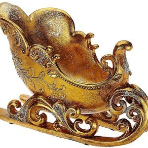 Antiqued Decorative Sleigh with Scroll Accents